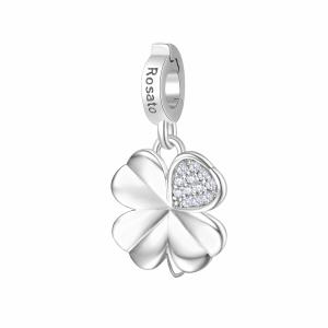 Charm Rosato in argento 925 quadrifoglio con zirconi RZ182R