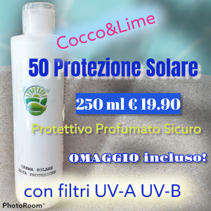 Nuova!! Crema Solare SPF50 Protezione Alta Cocco&Lime spf50 250ml