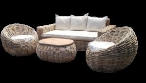 Salotto in rattan naturale mod. Valentina (1 divano , 2 poltrone con tavolino top legno di mango)