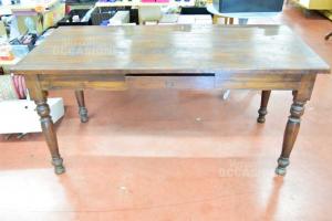 Wooden Table Antique 160x76 Cm Color Brown Dark