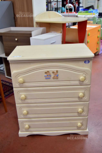 Cabinet Changing Table Beige Teddy Bears 4 Drawers With Wheels