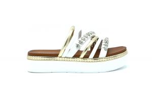 Sandalo platform con strass