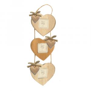Portafoto in legno triplo con cuori