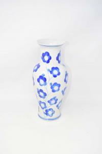 Vase Ceramic Flowers Blue 30 Cm