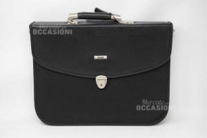 Porta Documenti Lavoro Nera Jaguar Con Tracolla E Chiave 32 X 42 Cm