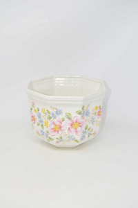 Plant Pot Ceramic Made Italy Floral Octagonal 20x15 Cm (small Defect)