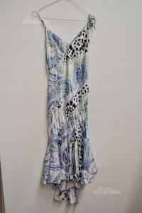 Vestito Donna Just Cavalli Bianco Fantasia Azzurra Tg.XS