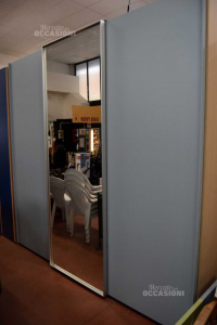 Wardrobe Scorrevo Light Blue With Door Mirror Brand Bornello