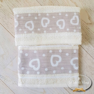 Asciugamani Cuoricini e pois panna
