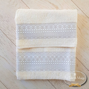 Asciugamani piedipull geometrico panna