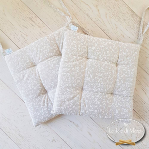 Cuscino per sedia ricamo bianco