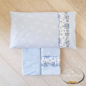 Completo Lenzuola Farfalle azzurre matrimoniale