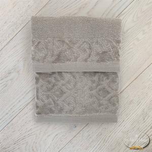 Coppia asciugamani balza in ciniglia tortora