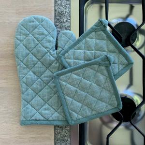 Set 2 presine + guanto forno verde