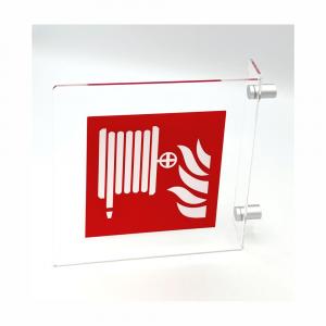 Cartello in plexiglass Plexline Bifacciale lancia antincendio UNI EN ISO 7010