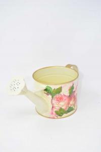 Bagnafiori In Tin With Flowers Decoupage