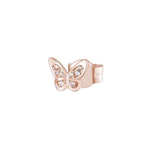 Orecchino mono a lobo Rosato in argento 925 Farfalla con zirconi RZO052