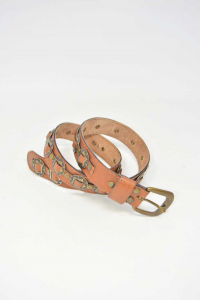 Leather Belt And Metal 86 Cm