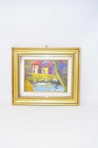 Painting Landscape Frame Golden 30x25 Cm