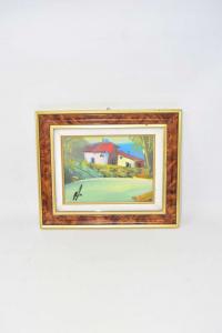 Painting Landscape Frame Golden / Brown 30x25 Cm