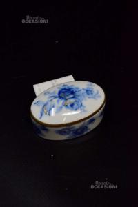 Scatolina da Collezione Ceramica Limoges Fiori Blu 6x4x3 Cm