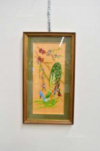 Quadro Pavone Di Perline Su Tavoletta Di Legno, Incorniciato 35x62 Cm
