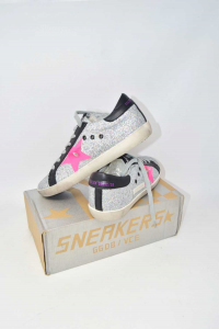 Shoes Woman Golden Goose Silver Star Pink Fluo N°.40 New