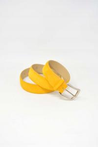 Cintura In Vera Pelle Scamosciata Color Senape