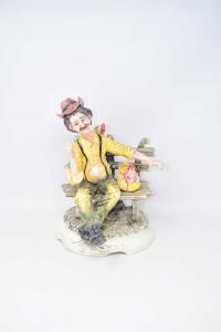 Statua Ceramica Uomo Con Galline H 30 Cm