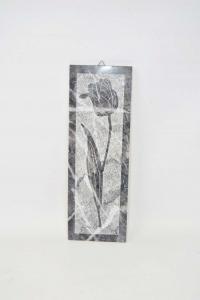 Quadretto Marmo Inciso G.s. Tulipano 10.5x30.5 Cm