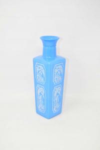 Vaso Azzurro Con Immagini Bianche Stampate 27 Cm