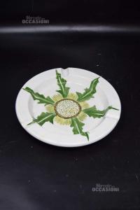 Posacenere Ceramica Fiore Verde 21 Cm Dipinto A Mano
