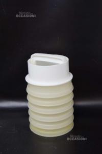 Piattino In Vetro Bianco Di Murano Tondo 7x4cm Con Base Dorata