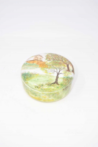 Scatola In Ceramica Portagioie Tonda Dipinta A Mano Paesaggio, Piera 15x6 Cm