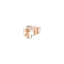 Orecchino mono a lobo Rosato in argento 925 quadrifoglio rosè con zirconi RZO051