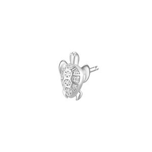 Orecchino mono a lobo Rosato in argento 925 Tartaruga con zirconi RZO053R