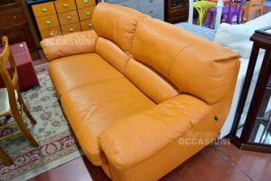 Sofa In Real Leather 3 Seats Nicoline 190 Cm Orange