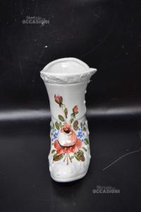 Stivale In Ceramica Dipinto A Mano H 15cm