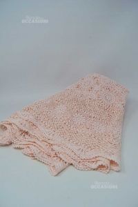 Tablecloth Hand Made Crochet Raggio 80 Cm Pink Made In Italy