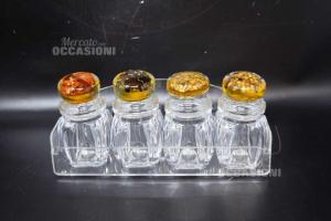 Set Spice Jar 4 Pieces + Tray,new