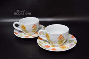 Coppia Tazze Thun In Ceramica Con Disegno Fiori Con Scatola