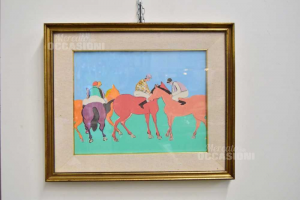 Quadro Uomini A Cavallo 52x63 Cm