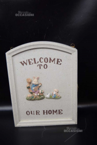 Cabinet Wood Keyhanger Welcome To Our Home With Coniglietti 20x26x4.5 Cm