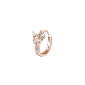 Orecchino mono cerchietto Rosato in argento 925 rosè con farfalla RZO060