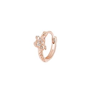 Orecchino mono cerchietto Rosato in argento 925 rosè con tartaruga RZO055