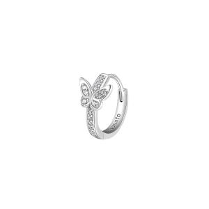 Orecchino mono cerchietto Rosato in argento 925 con farfalla RZO060R
