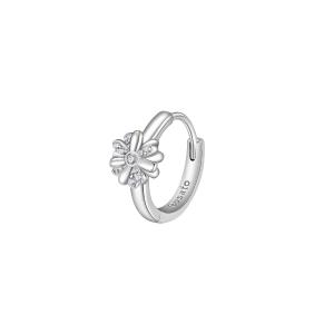 Orecchino mono cerchietto Rosato in argento 925 fiore con zirconi RZO062R