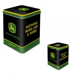 Scatolina di latta da the John Deere logo black -2