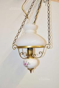 Lampadario Vetro E Ottone Con Stampa Fiori Rosa Sulla Ceramica 80 Cm Catene Comprese
