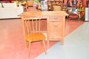 Wooden Desk With Drawer + Chair